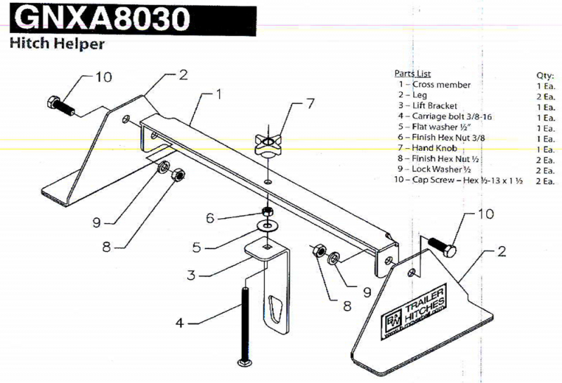 b u0026w gnxa8030 hitch helper gooseneck installation tool