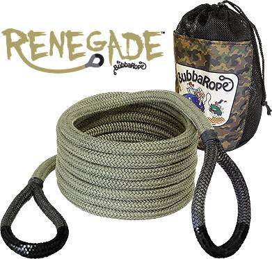 "Bubba Rope Recovery Ropes - Bubba Rope - Bubba Rope 176655BKG Renegade 3/4"" x 20' Recovery Rope - 19,000 lbs. Breaking Strength"