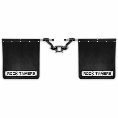 "Rock Tamers - ROCK TAMERS 2"" Hub Mudflap System Matte Black/Stainless Steel Trim Plates 00108"