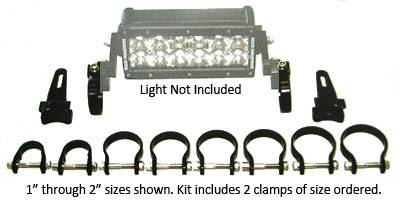 Fog/Driving Lights and Components - Fog/Driving Light Mounting Bracket - Rigid - Rigid Industries Adjustable Clamps -  PAIR