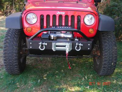 Rock Hard 4x4 Parts - Rock Hard 4x4 Parts RH5002 Shorty Front Bumper with Lowered Winch Plate - Jeep JK