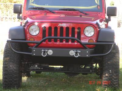 Rock Hard 4x4 Parts - Rock Hard 4x4 Parts RH5003 Shorty Front Bumper with Tube Extensions - Jeep JK