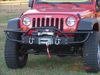 Rock Hard 4x4 Parts - Rock Hard 4x4 Parts RH5004 Shorty Front Bumper with Lowered Winch Plate and Tube Extensions - Jeep JK
