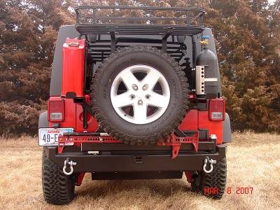 Rock Hard 4x4 Parts - Rock Hard 4x4 Parts RH5001 Rear Bumper and Tire Carrier - Jeep JK